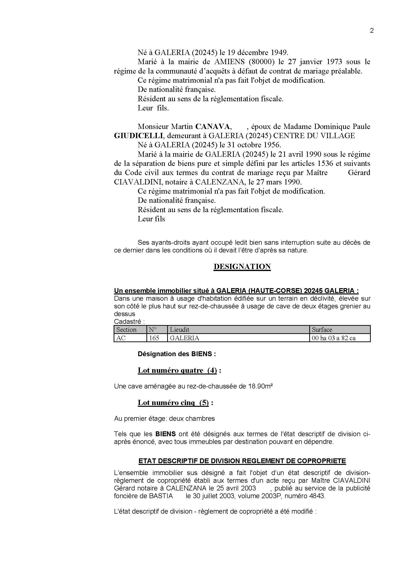 Avis de création de titre de propriété - Commune de Galeria (Haute-Corse)