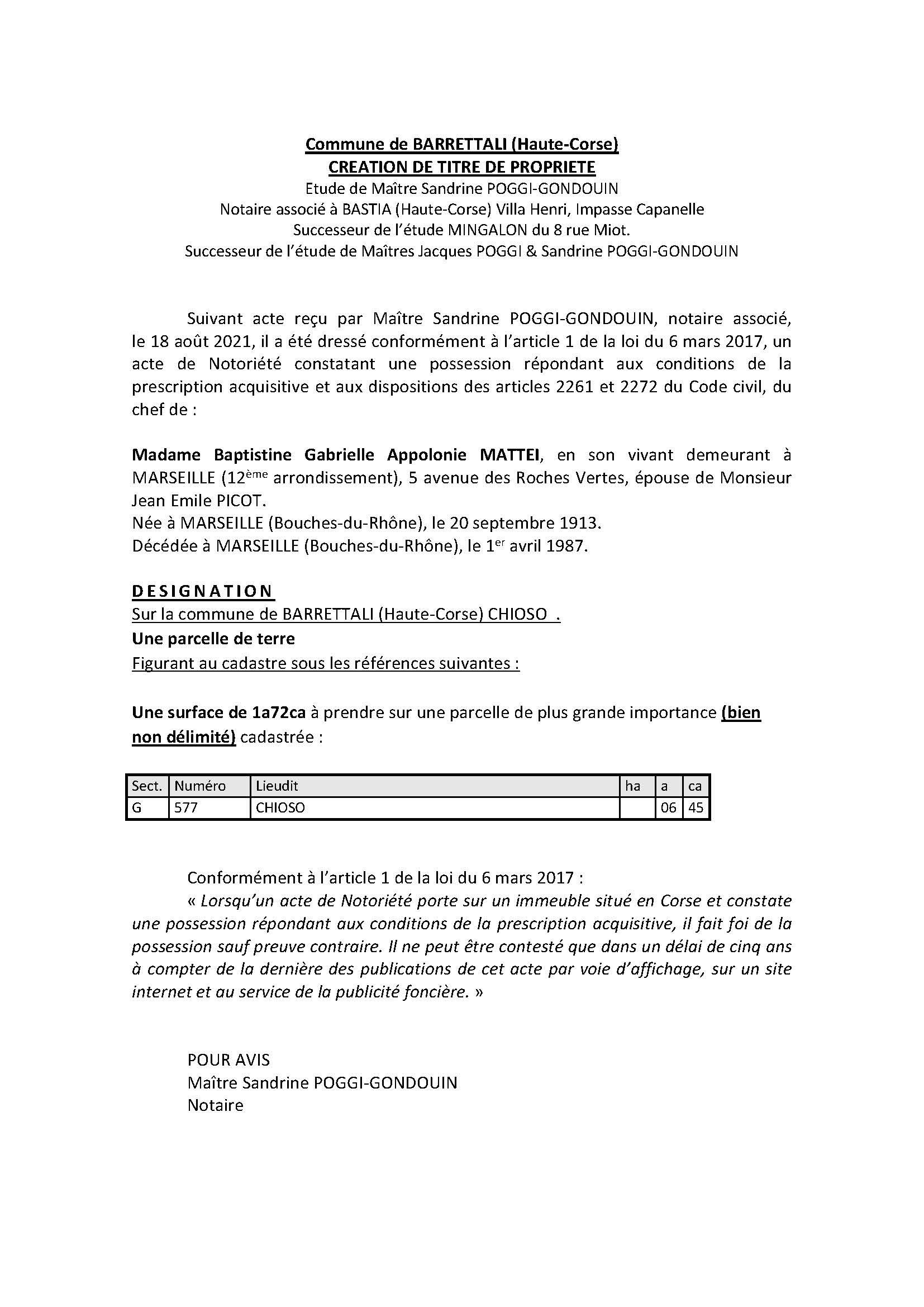 Avis de création de titre de propriété - Commune de Barrettali (Haute-Corse)