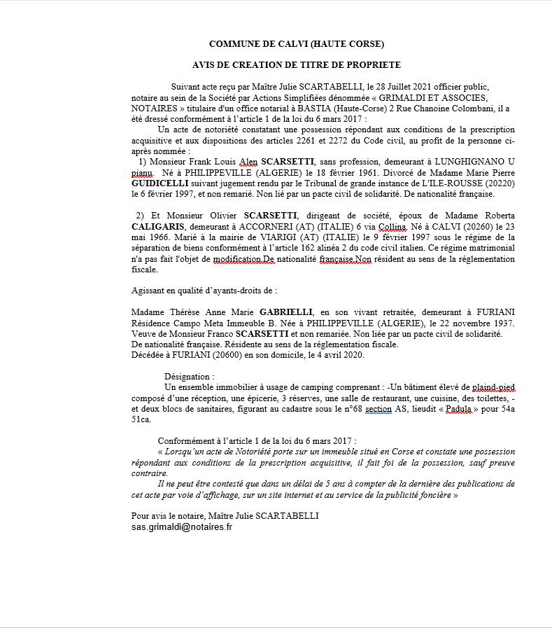Avis de création de titre de propriété - Commune de Calvi (Haute-Corse)