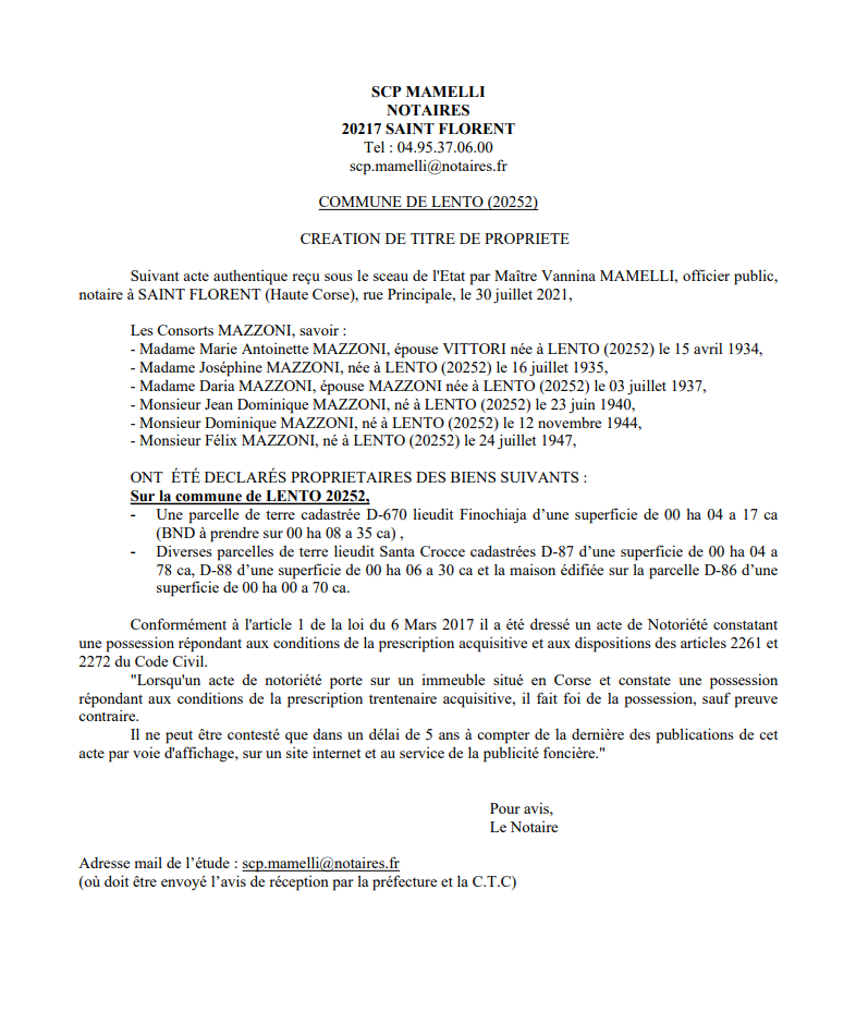 Avis de création de titre de propriété - Commune de Lento (Haute-Corse)
