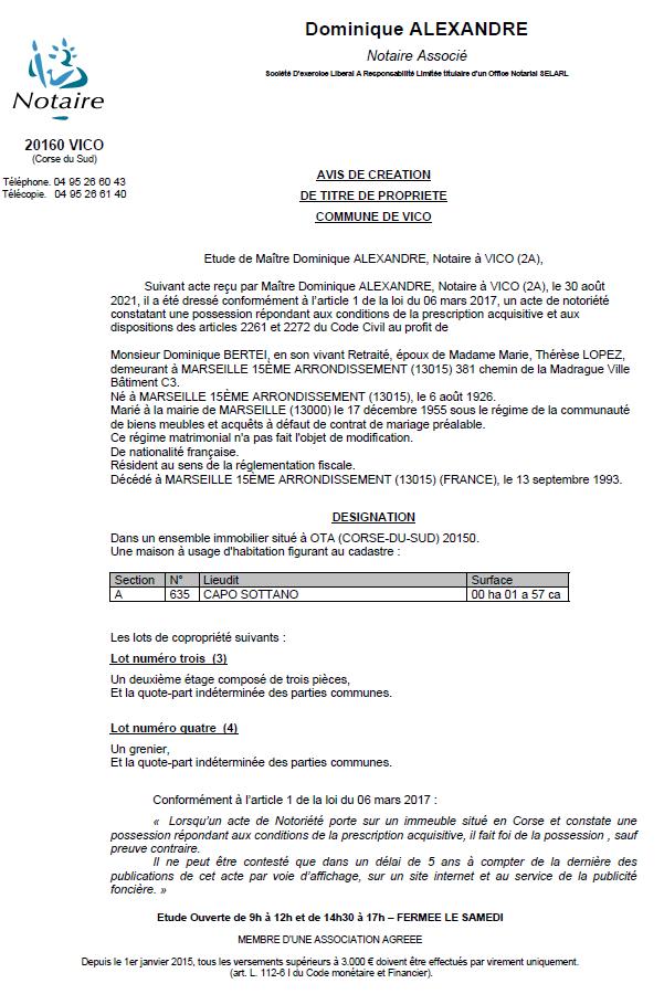 Avis de création de titre de propriété - Commune de Vico (Corse du Sud)
