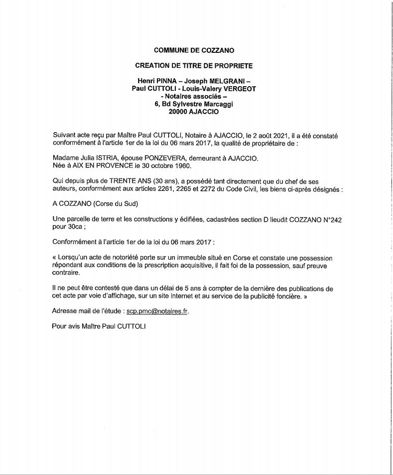 Avis de création de titre de propriété - Commune de Cozzano (Corse-du-Sud)