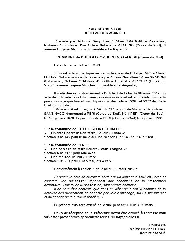 Avis de création de titre de propriété - Communes de Cuttoli-Corticchiato et de Peri (Corse-du-Sud)