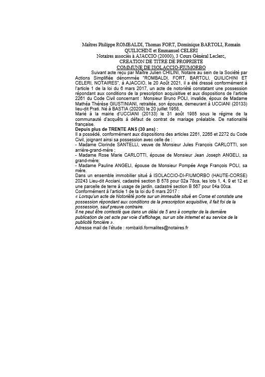 Avis de création de titre de propriété - Commune d'Isolaccio-Fiumorbo (Corse-du-Sud)