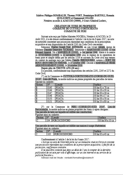 Avis de création de titre de propriété - Commune de Cuttoli-Corticchiato (Corse-du-Sud)