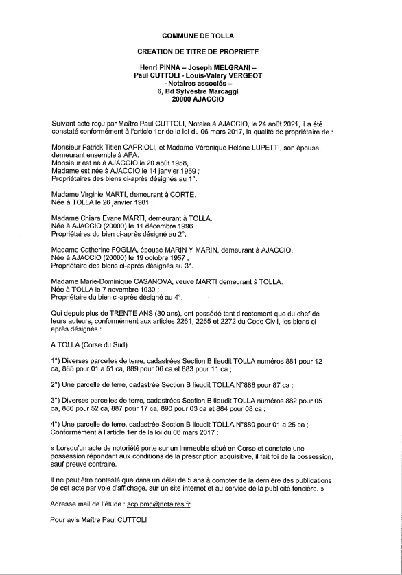Avis de création de titre de propriété - Commune de Tolla (Corse-du-Sud)