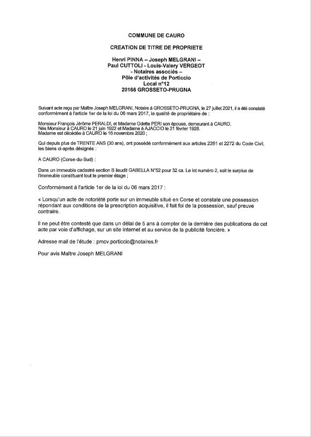Avis de création de titre de propriété - Commune de Cauro (Corse-du-Sud)