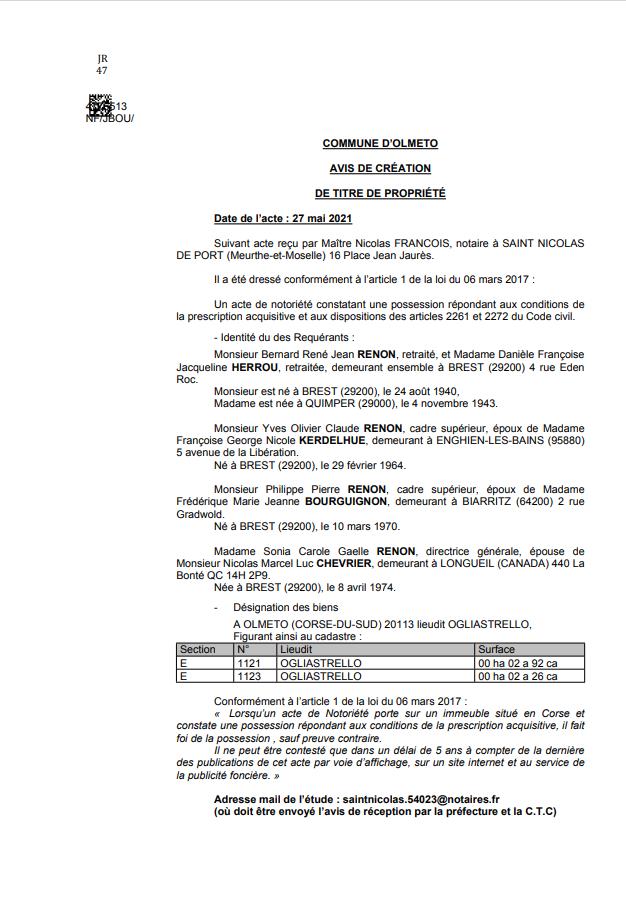 Avis de création de titre de propriété - Commune d'Olmeto (Corse-du-Sud)