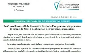 Le Conseil exécutif de Corse fait le choix d'augmenter de 50 euros la prime de Noël à destination des personnes précaires