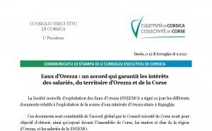 Eaux d'Orezza : un accord qui garantit les intérêts des salariés, du territoire d'Orezza et de la Corse