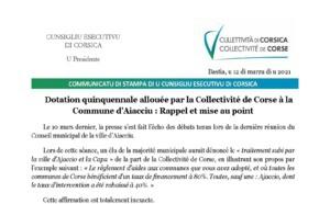 Dotation quinquennale allouée par la Collectivité de Corse à la Commune d'Aiacciu : Rappel et mise au point
