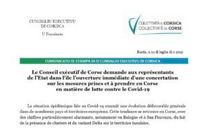 Le Conseil exécutif de Corse demande aux représentants de l'Etat dans l'île l'ouverture immédiate d'une concertation sur les mesures prises et à prendre en Corse en matière de lutte contre le Covid-19