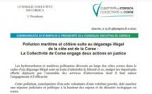 Communiqué du Conseil exécutif de Corse : Pollution maritime et côtière suite au dégazage illégal de la côte est de la Corse : La Collectivité de Corse engage deux actions en justice